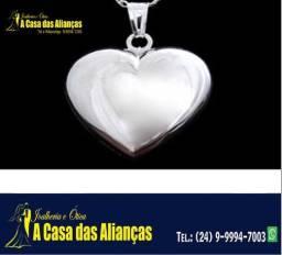 Título do anúncio: Coração em Prata de lei 950 Tamanho 40 mm