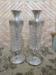 Castiçal estilo aço inox com pedras de cristal