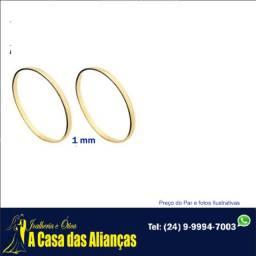 Alianças ouro 18 K 1.10 gramas 1 mm /Ouro puro 18 kilates