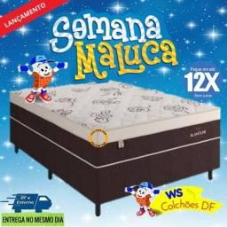 (12x S/Juros)* Cama Box Queen Size + Colchão Molas Ensacadas (Pronta Entrega)