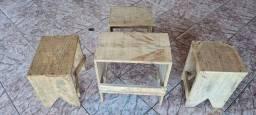 Jogo de bancos madeira