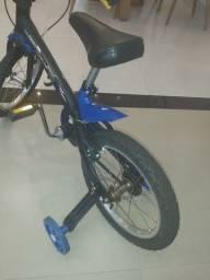 Bicicleta Infantil Aro 16 Aro Alumínio Com Rodinhas Menino Apollo - Nathor - Preto/Azul