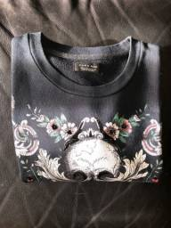 blusa zara caveira estampada
