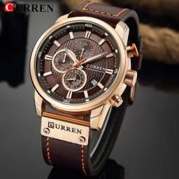 Título do anúncio: Relógio Curren com cronógrafo, caixa em aço inoxidável e pulseira de couro