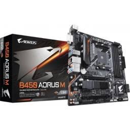 Título do anúncio: Placa Mãe Gamer AMD Gigabyte B450 Aorus M RGB - NOVA - Loja Física