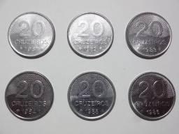 Moedas 20 Cruzeiros 1981 - 1986 (Lote Completo)