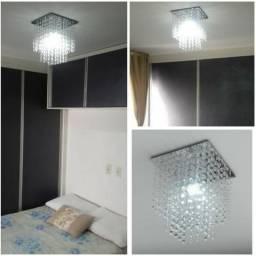 Lustre duas camadas Espelhado quadrado sala quarto