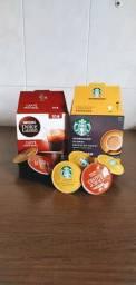 2 caixas de café em cápsula Starbucks e Dolce Gusto
