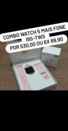 Relógio Smartwatch T5+ fone sem fio Iphone i9 tws