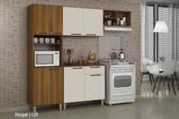 Cozinha Completa com balcão 4 Peças Granada Sallêto Móveis ? Nogal com Off white