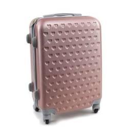 Mala de bordo (seminova) rosa claro com corações + Entrega imediata