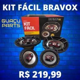 Alto Falante Bravox Facil 6 + Triaxial Quadriaxial 6x9 Kit Facil
