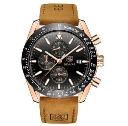 Relógio Masculino Benyar 5140 Original Dourado C/ Preto