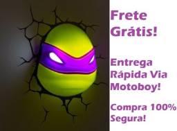 Luminária 3D de Parede, T. Ninja. Donatello (Rosto Do Donatello!) Frete Grátis!