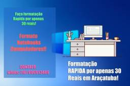Título do anúncio: Formatação rápida para notebooks e Computadores em Araçatuba!