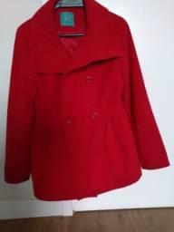 casaco vermelho lã  batida