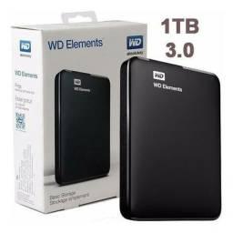 Título do anúncio: HD EXTERNO 1TB WD ELEMENTS Western Digital , USB 3.0, Novo, lacrado de Fábrica
