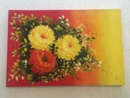 Quadro vermelho de flores MARAVILHOSO