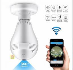 Camera lampada panoramica 360 wifi aplicativo pelo celular , aceita cartao sd