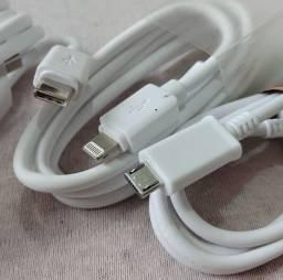 Cabo USB para celular tipo C V8 ou lightning pra Apple