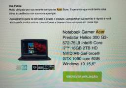 Notebook Gamer - Acer Predator - Helios 300