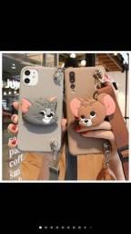 Capinha Para Iphone Flexível Com Cordão Tom Jerry / 11 Pro Max / X / Xs Max