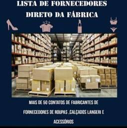 Lista de fornecedores direto da fabrica