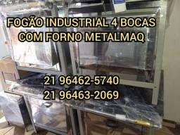 FOGÃO INDUSTRIAL 4 BOCAS COM FORNO DIRETO DE FABRICA METALMAQ PRONTA ENTREGA PEÇA AGORA!