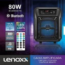 Caixa De Som Amplificada Lenoxx Com Bluetooth e Rádio Fm 80W