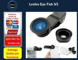 Olho de Peixe 3 lentes em 1: Fisheye+Wide+Macro