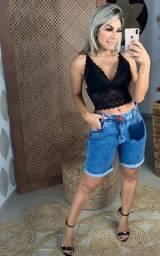 Bermuda 100% Jeans Cintura Alta Tamanho 38