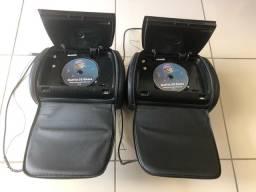 Par de Encosto de Cabeça dos Bancos Tela 7 Dvd Entrada Usb e Micro Sd  + Controle
