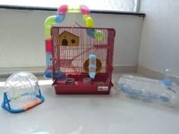 Gaiola Hamster + Gaiola Transporte + Bola Exercicios