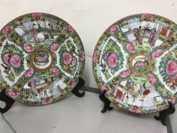 Par de pratos decorativos Chinese Imari Século 19