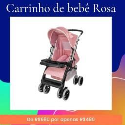 Carrinho de bebê rosa na promoção