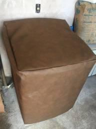 capa protecao máquina lavar e tanquinho em couro sintético