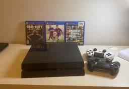 Sony Playstation 4 500gb Usado Com 3 Jogos Brindes