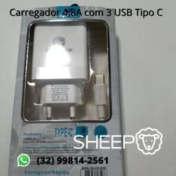 Carregador Renux Tipo C com 3 USB
