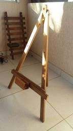 Cavalete tripé madeira pequeno para placas e banners banner