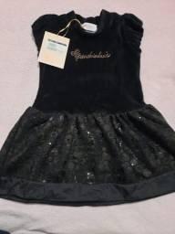 Vestido de veludo Pituchinhus novo Tam 6