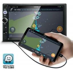Central Multimídia Mp5 Lcd 2din Bluetooth Player Fm Usb Sd Aux. Tela Touch Hd 7
