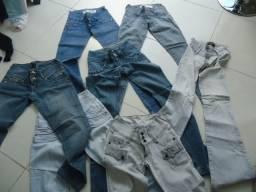 7 calças jeans tamanho 36- usadas cós baixo