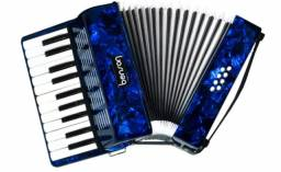 Sanfona Acordeon 8 Baixos BAC08PBL 22 Teclas Azul Perola Benson