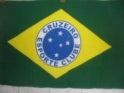Bandeira do Brasil com Símbolo Escudo Cruzeiro Raposa Azul Celeste 132cm x 86cm torcedor