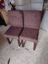 2 cadeira estofadas novas no tecido sued amimalle cor chocolate