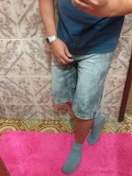 Bermuda jeans marmorizada no tamanho 42
