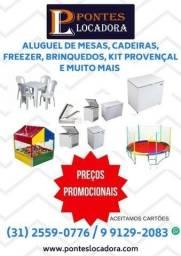 Título do anúncio: Aluguel de Mesas - Toalhas - Freezer - Brinquedos - Temas para Festas.