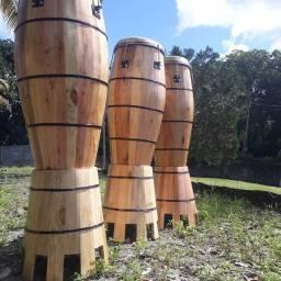 Trio de atabaques pra religião de matrizes africanas 500 reais cada