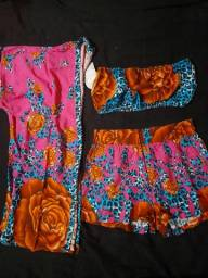 Conjunto Top+Short e Kimono