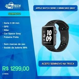 Título do anúncio: Apple Watch Serie 3 38mm GPS Nike Space Gray (Seminovo / Bateria 89%)